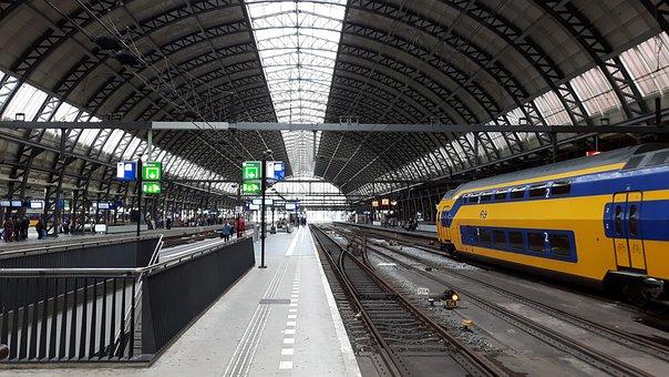 Station, Amsterdam, Train, Intercity, Platform