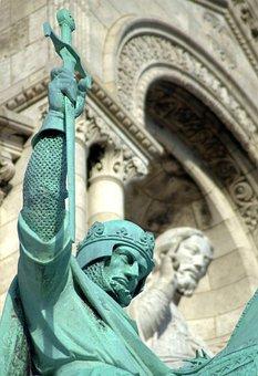 Statue, Knight, Crusade, Saint, Church, Monument, Paris