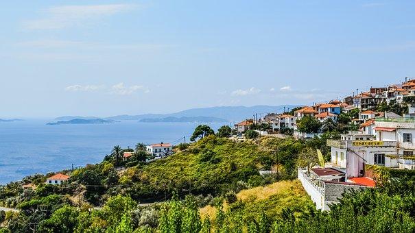 Greece, Skopelos, Glossa, Village, Landscape, View