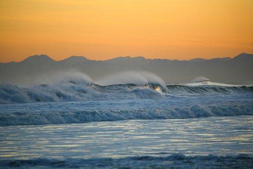Ocean, Volcano, Mountains, Wave, Sunset, Seascape, Sea