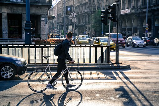 Person, Watching, Traffic, Bike, Budapest, Bicycle