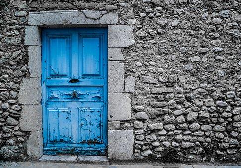 Blue Door, Old, Vintage, Paint, Street, Architecture