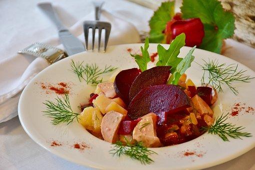 Potato Salad, Potatoes, Beetroot, Rats, Sausage, Eat