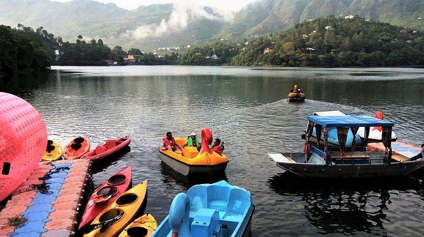 Naukuchiya Tal, India, Boats, Water Sports, Hills