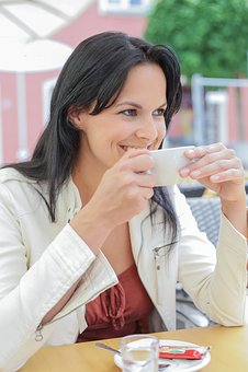 Pretty Woman, Coffee, Enjoy, Aroma, Posing, Cafe