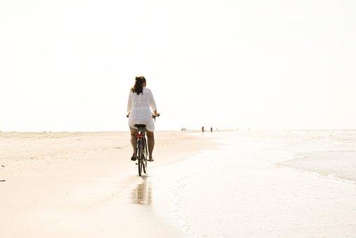 Bicycle, Beach, Woman, Riding, Summer, Sea, Leisure