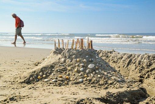 Beach, Castle, Shell, Sand, Man, Walking, Play, Fun