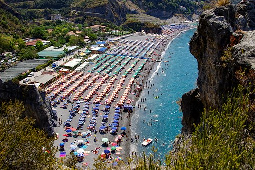 Summer, Sea, Holiday, Vacationers, Beach, Umbrellas