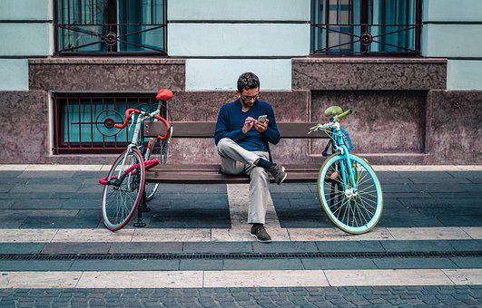 Man, Smartphone, Sitting, Waiting, Phone, Mobile