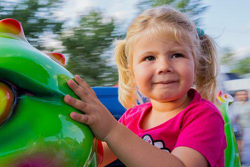 Girl, Child, Carousel, View, Face, Summer, Happy, Eyes