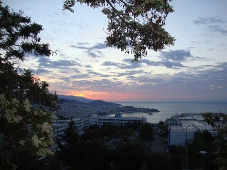 Greece, Kavala, Sunset, Sunrise, Sun, Morning, Sea