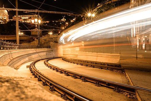 Tram, Corner, Turn, Tunnel, Budapest, Transport, Train