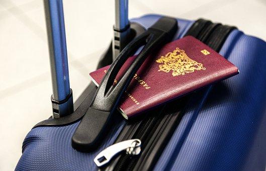Passport, Luggage, Trolley, Travel, Trip, Vacation