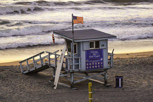 Beach, Lifeguard, Cal, Summer, Ocean, Waves, California
