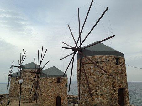 Mill, Sakizadasi, Greece, Marine, Trip, Navigator