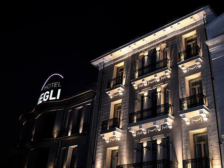 Night, Hotel, Lights, City, Architecture, Neoclassic