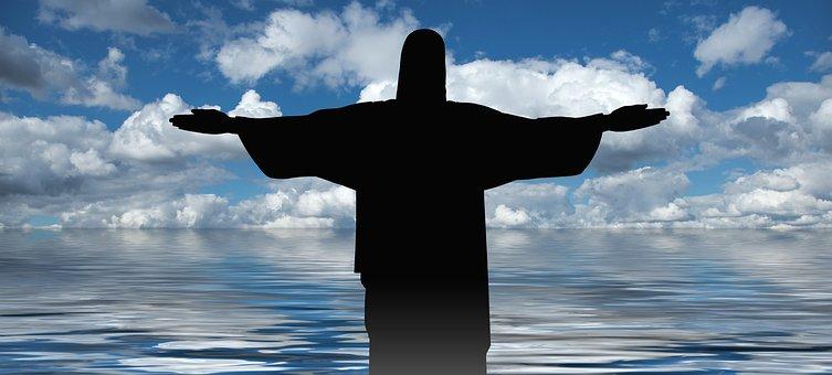 Cross, Christ, Statue, Sea, Pigeons, Redeemer