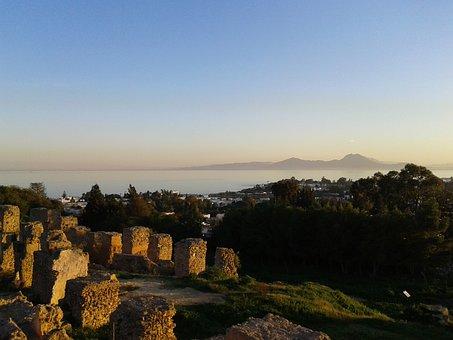 Tunisia, Carthage, Ruins, Sunset
