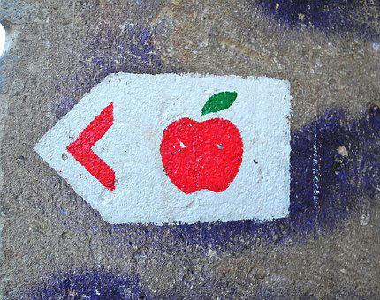 Apple, Sign, Warning, Graffiti, Wall Painting, Wall