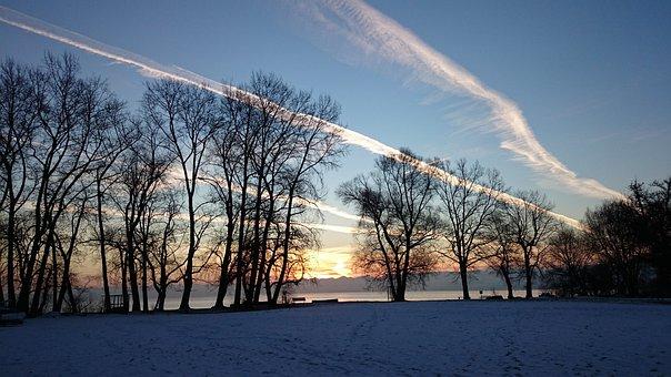 Morning, Snow, Sunrise, Lake, Winter, Beach