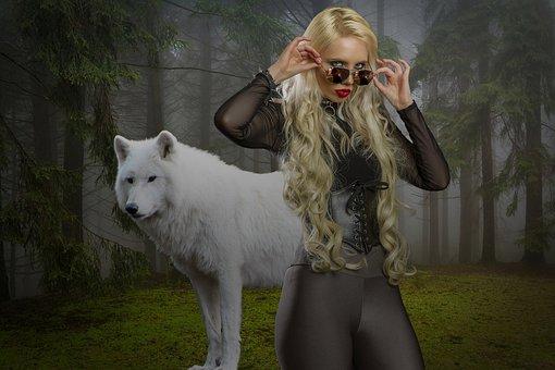 Wolf, Blonde, Girl, Forest