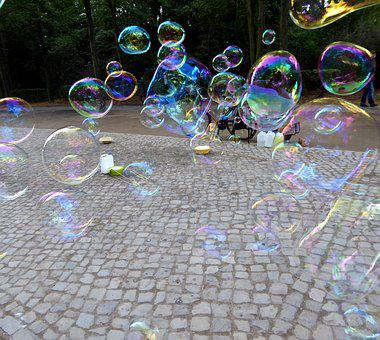 Soap Bubbles, Blow, Colorful, Iridescent, Float, Ease
