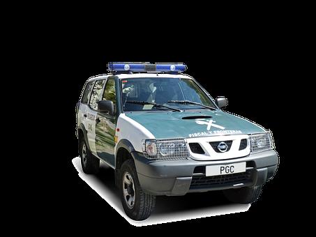 Police, Civil Guard, Patrol Car, Borders, Cropped Image