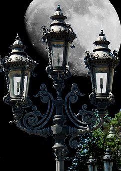 Candelabra, Full Moon, Lamp, Light, Lighting, Lantern