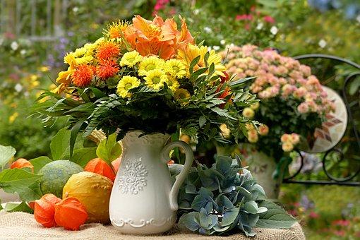 Still Life, Bouquet, Colorful, Autumn, Pumpkin, Gourd