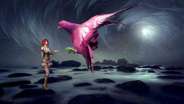 Fantasy, Woman, Dove, Bird, Mystical, Female