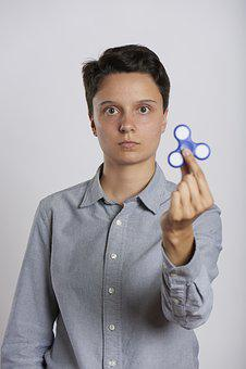 Fidget Spinner, Woman, Holding, Play, Fidget, Toy