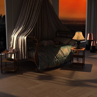 Room, Light, Four Poster Bed, Mood, Atmosphere, Window