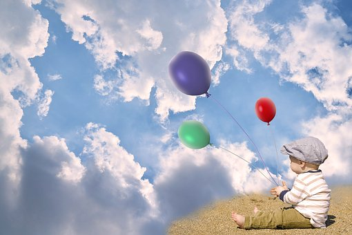 Child, Little Kid, Sit, Balloons, Sky, Clouds