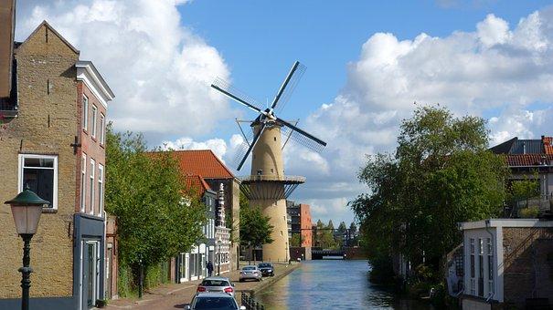 Schiedam, Mill, Grain Mill, Wind Mill, Mill Blades