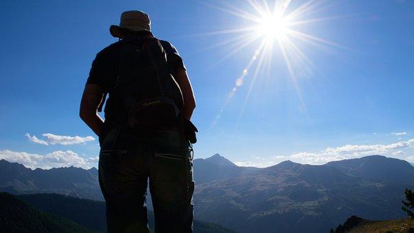 Woman, Mountain, Sun, Sky, Hiking, Departure, Route