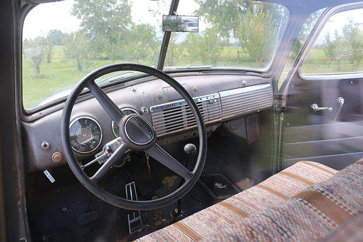 Steering Wheel, Truck, Vehicle, Car, Wheel, Transport