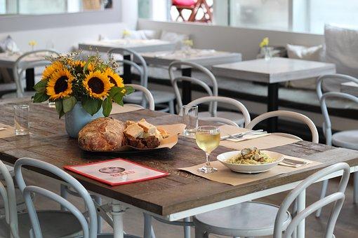 Restaurant, Wine, Glass, Pasta, Bread, Meal