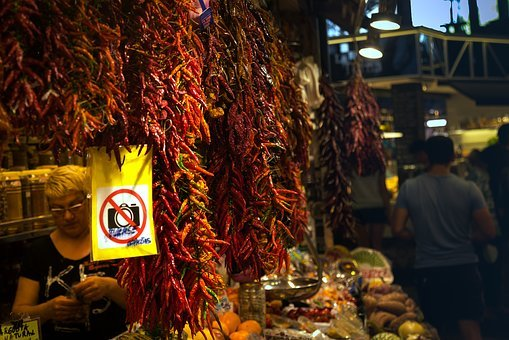 Peppers, Market, Etal, Spices, Red, Barcelona