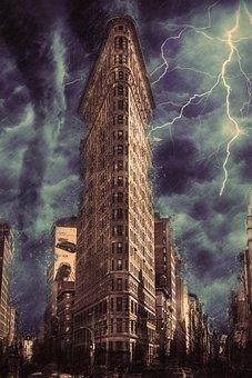 New York, City, Town, Water, River, Skyline, Urban