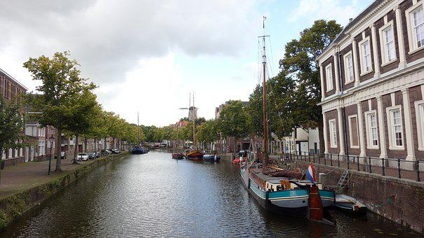 Cityscape, Canal, Boats, Vessels, Holland, Netherlands