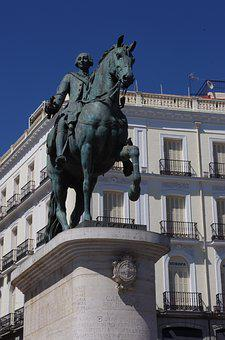 Madrid, Spain, Europe, Statue, King, Ruler, History