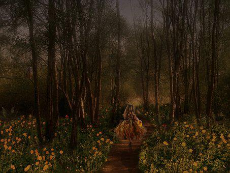 Fairy Tales, Child, Forest, Green, Yellow, Meadow, Girl
