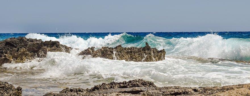 Rocky Coast, Wave, Smashing, Wind, Nature, Landscape