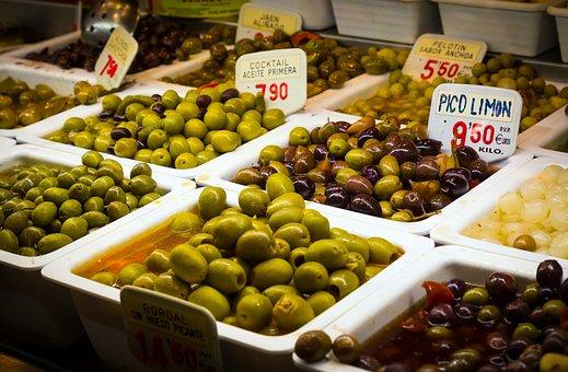 Olives, Oil, Market, Flavors, Spain, Barcelona