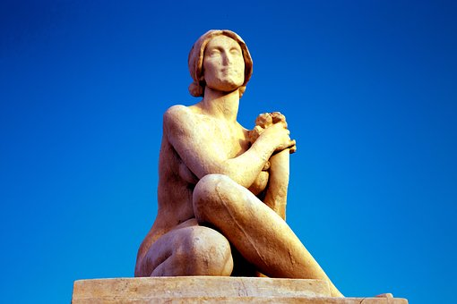 Statue, Woman, Sky, Nudity, Antique, Barcelona, Spain