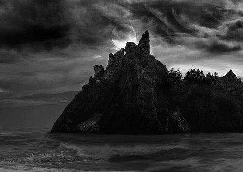 Spooky Island, Island, Spooky, Ocean, Sea, Waves