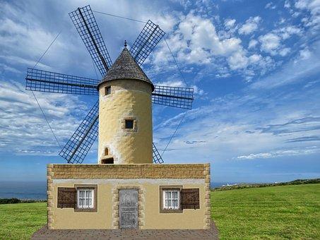 Windmill, Clouds, Mill, Sky, Old Windmill, Landscape