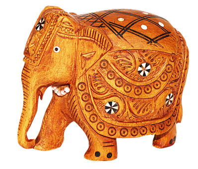 Elephant, India, Figure, Wood, Carved, Souvenir, Deco