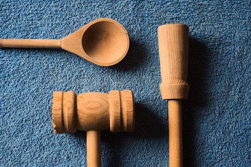 Kitchen Utensils, Wooden Utensils, Blue, Cooking, Spoon
