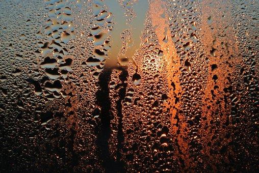 Glass, Condensation, Sunrise, Drip